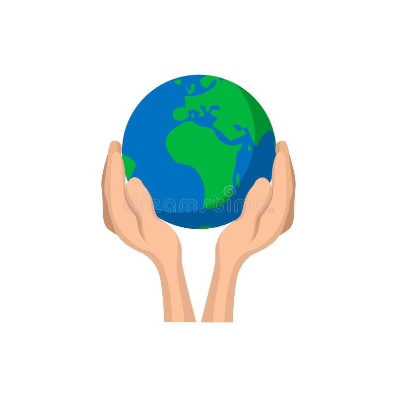 Ręki trzyma kuli ziemskiej kreskówki ikonę ilustracja wektor