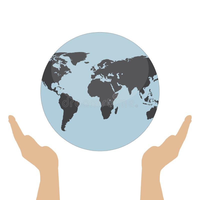 Ręki trzyma kuli ziemskiej sieci czerni ziemską ikonę Save ziemską pojęcie wektoru ilustrację royalty ilustracja