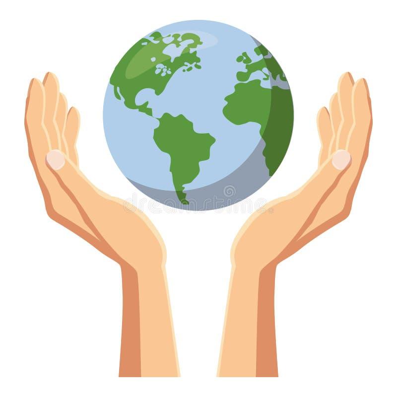 Ręki trzyma kuli ziemskiej ziemską ikonę, kreskówka styl royalty ilustracja