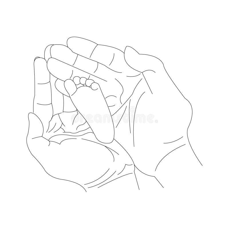 Ręki trzyma małego dziecka nożny royalty ilustracja