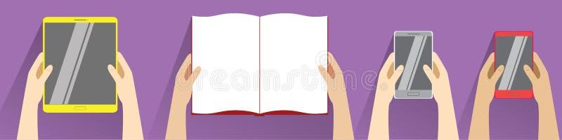 Ręki trzyma otwartą książkę, smartphones i pastylka komputer, Odgórny widok royalty ilustracja