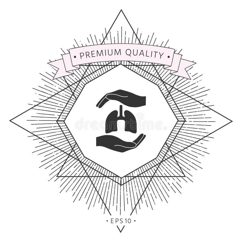 Ręki trzyma płuca - ochrona symbol ilustracji