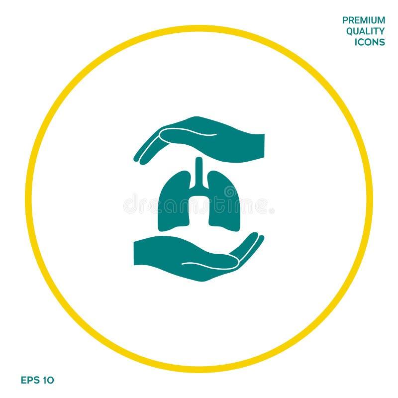 Ręki trzyma płuca - ochrona symbol Graficzni elementy dla twój projekta royalty ilustracja