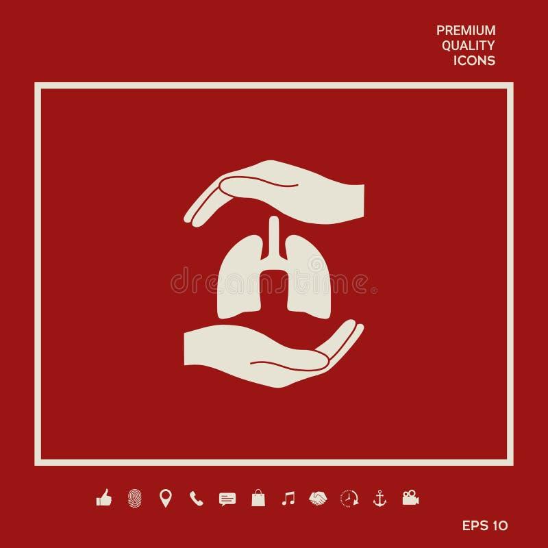 Ręki trzyma płuca - ochrona symbol Graficzni elementy dla twój projekta ilustracja wektor