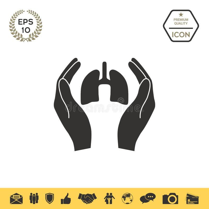 Ręki trzyma płuca - ochrony ikona ilustracji