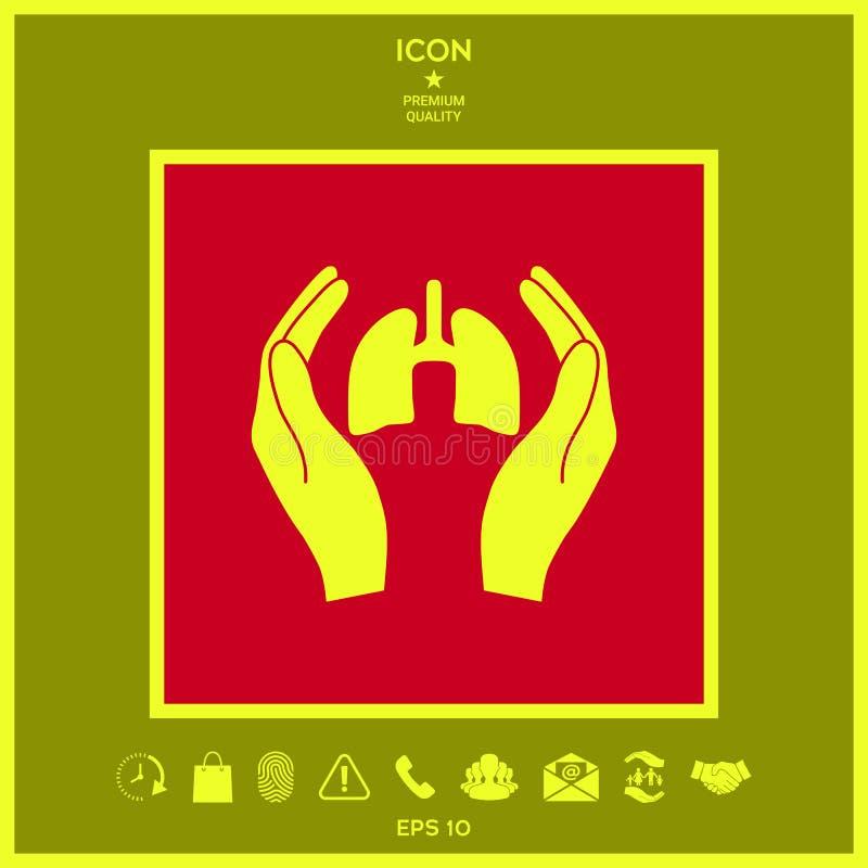 Ręki trzyma płuca - ochrony ikona royalty ilustracja