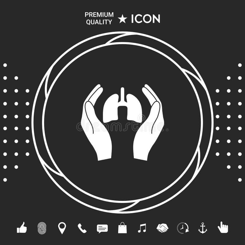 Ręki trzyma płuca - ochrony ikona Graficzni elementy dla twój designt royalty ilustracja