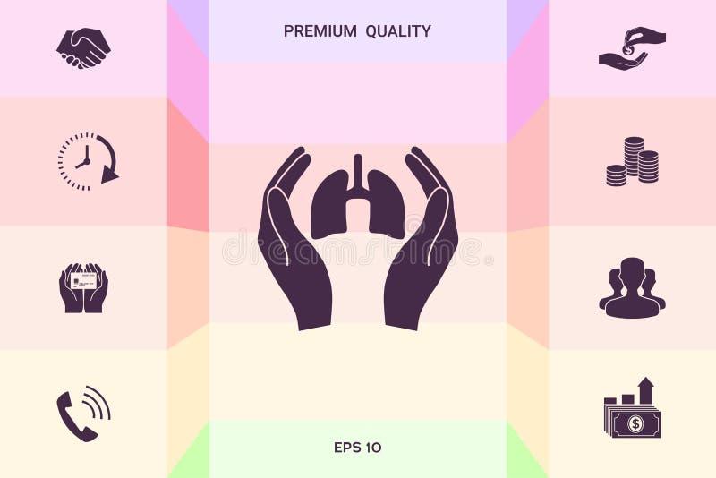 Ręki trzyma płuca - ochrony ikona Graficzni elementy dla twój projekta ilustracji