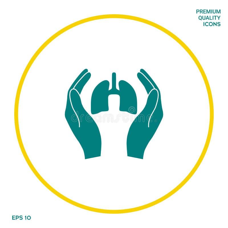 Ręki trzyma płuca - ochrony ikona Graficzni elementy dla twój projekta ilustracja wektor