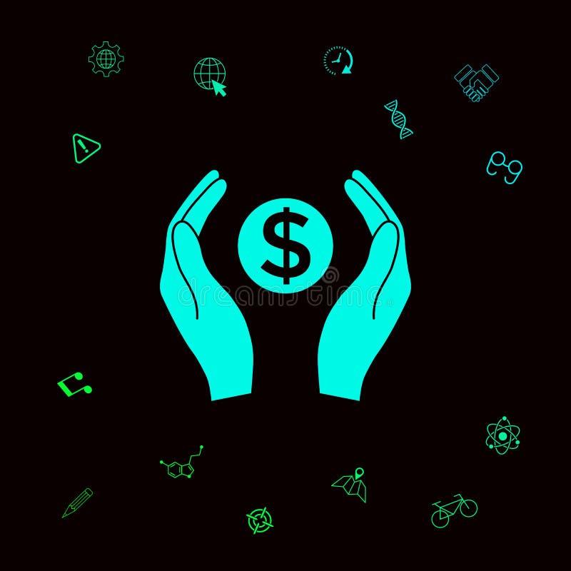 Ręki trzyma pieniądze - dolarowy symbol Graficzni elementy dla twój designt ilustracja wektor
