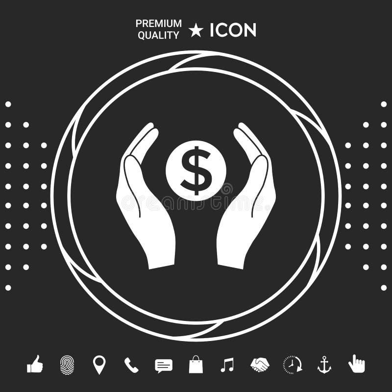 Ręki trzyma pieniądze - dolarowy symbol Graficzni elementy dla twój designt royalty ilustracja