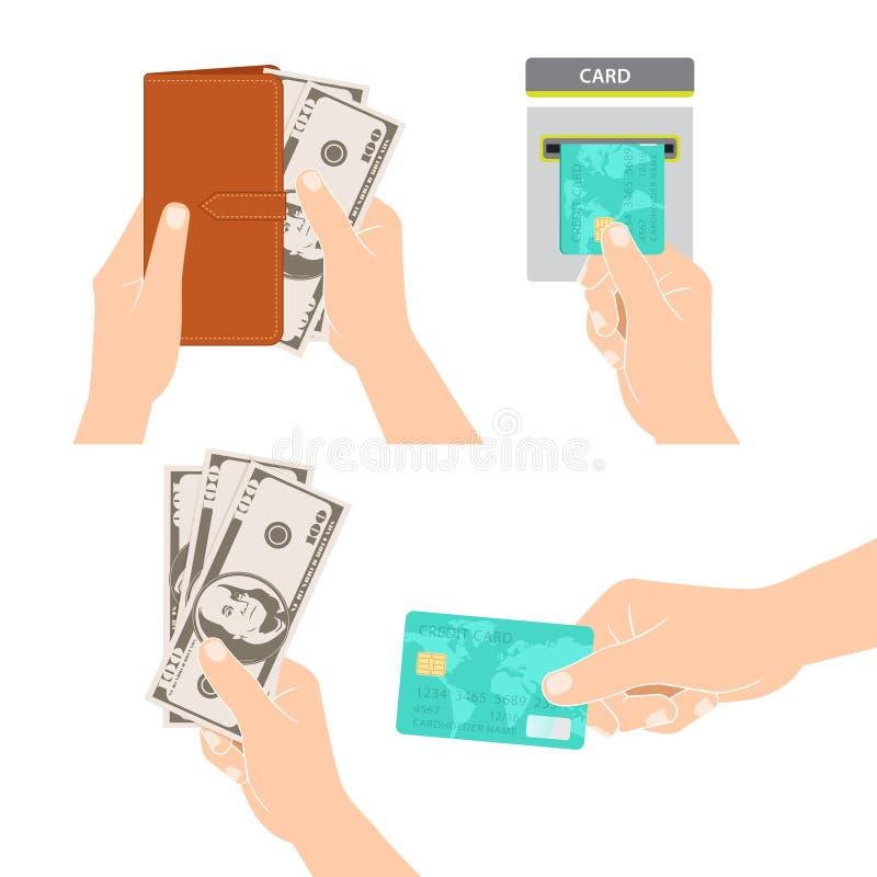 Ręki trzyma pieniądze, kredytową kartę i kiesy, ilustracji