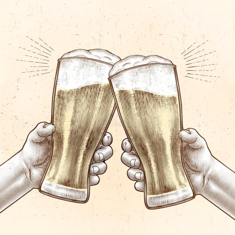 Ręki Trzyma Piwnych szkła ilustracja wektor
