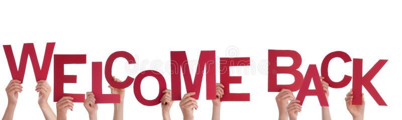 Ręki Trzyma powitanie Z powrotem zdjęcia stock