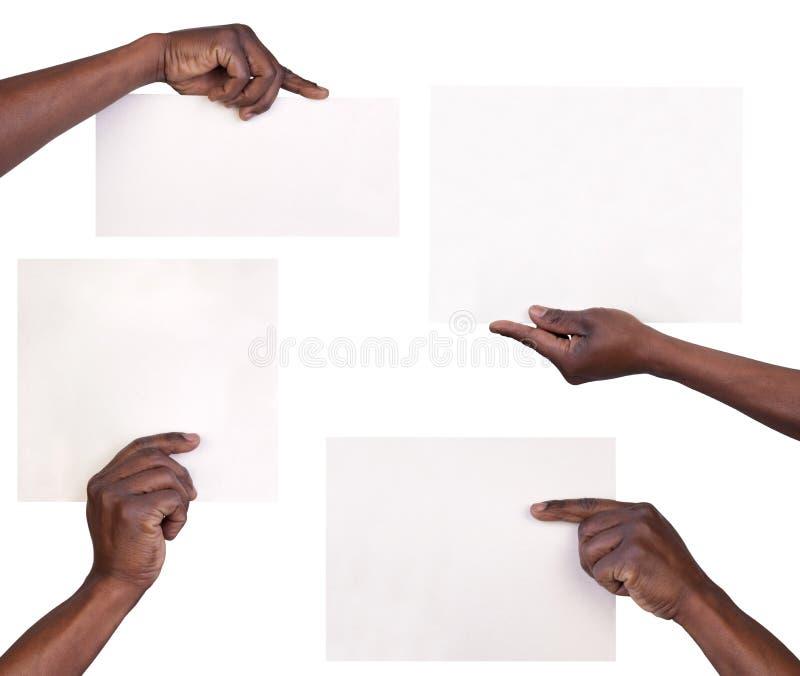 Ręki trzyma prześcieradła papier fotografia royalty free