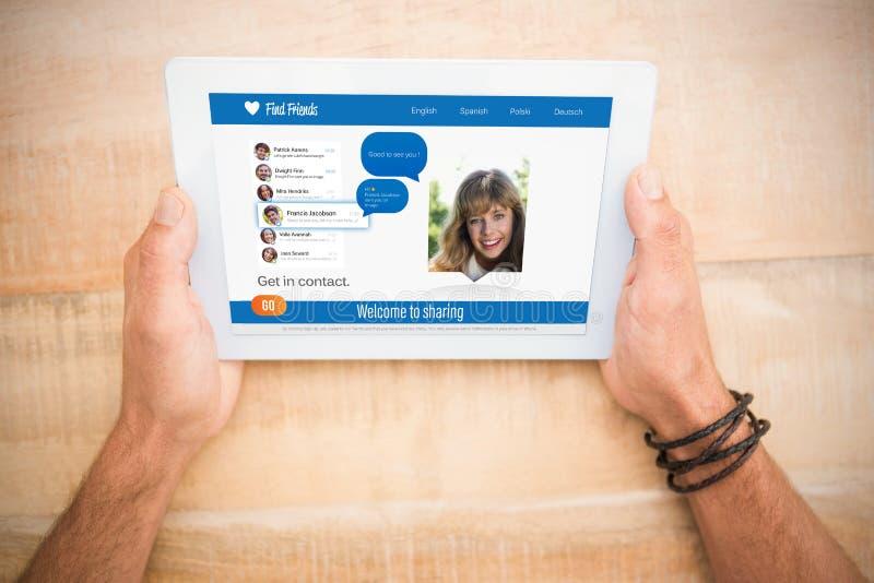 Ręki trzyma pustego ekranu 3d pastylkę zdjęcia stock