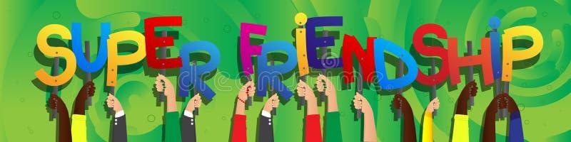 Ręki trzyma słowo Super przyjaźń royalty ilustracja