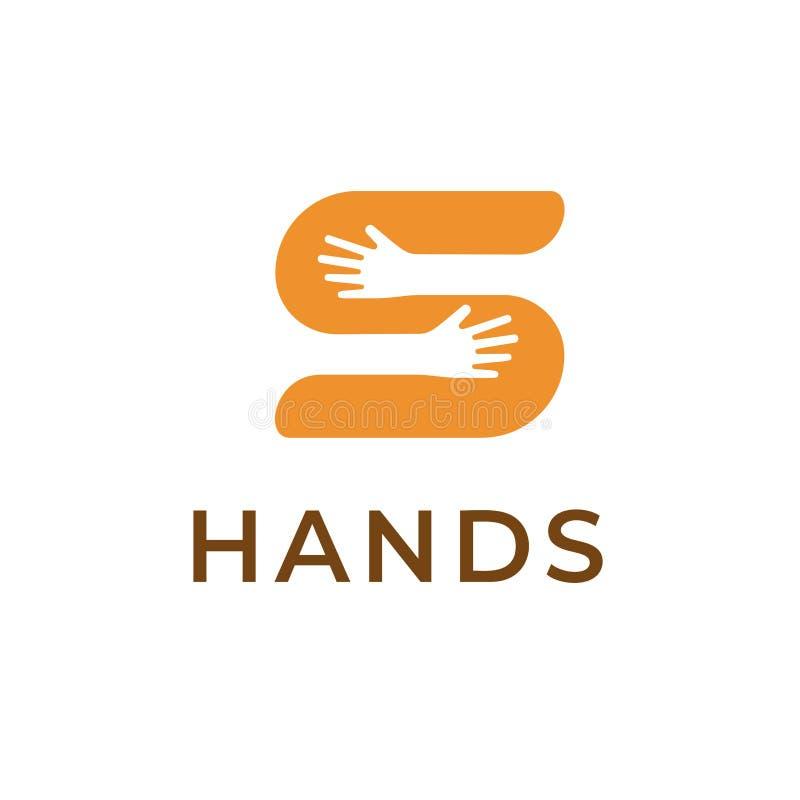 Ręki trzyma S loga listowego szablon Kreatywnie symbol dla oznakować Odosobniona wektorowa ikona z pojęciem ludzie, pomoc royalty ilustracja