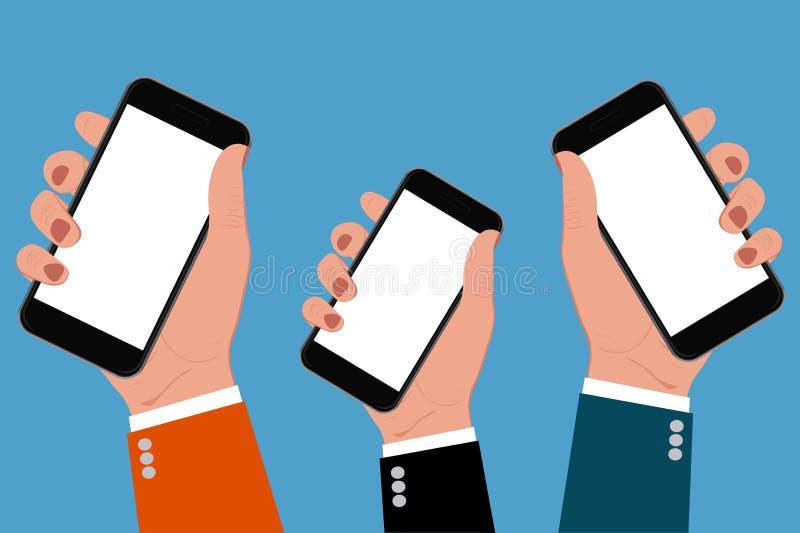 Ręki trzyma smartphones, wektorowa ilustracja royalty ilustracja