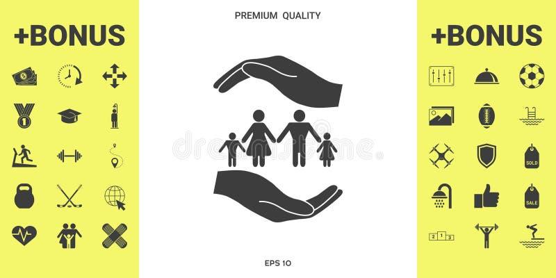 Ręki trzyma symbol rodzina Rodzinna gacenie ikona ilustracji