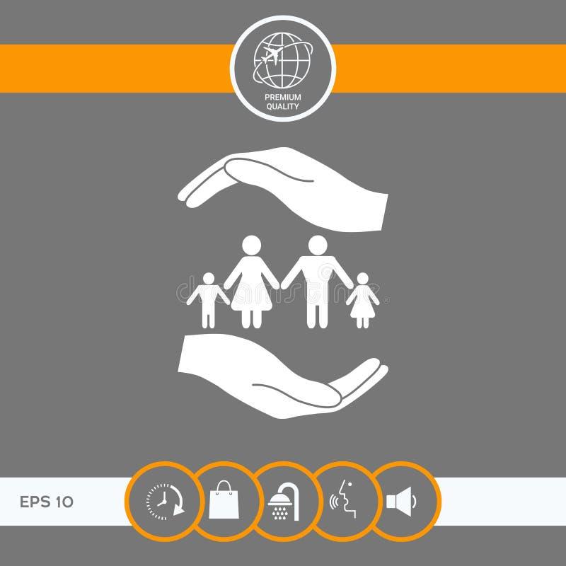 Ręki trzyma symbol rodzina Rodzinna gacenie ikona ilustracja wektor