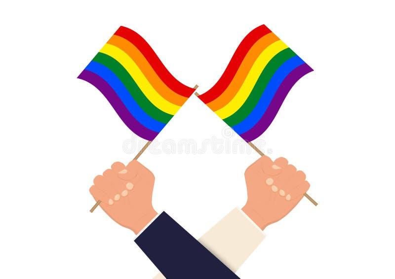 Ręki trzyma tęczę i podnosi barwili lgbt flagę zdjęcia royalty free