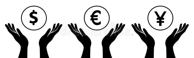 Ręki trzymają pieniądze ilustracji