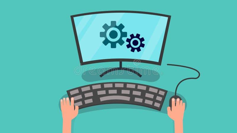 Ręki używać komputer config systemu wektor royalty ilustracja