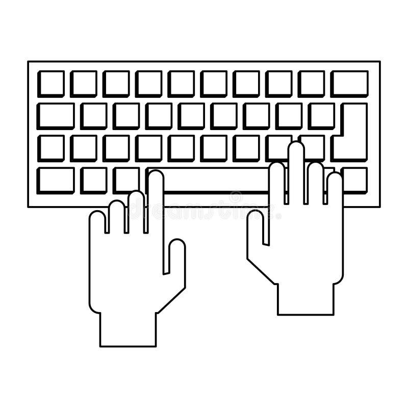 Ręki używać komputerową klawiaturę czarny i biały royalty ilustracja