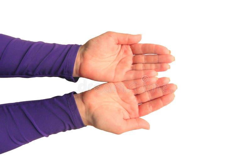 Ręki w średnim wieku kobieta z palmami w górę Mockup na odosobnionym tle Szablonu zbliżenie z kopii przestrzenią Odg?rny widok ni zdjęcie stock