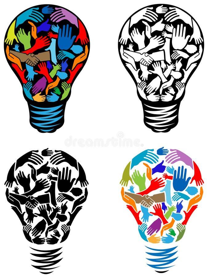 Ręki w żarówce ilustracji