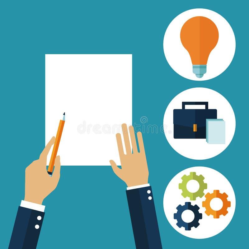 Ręki w kreatywnie procesie royalty ilustracja