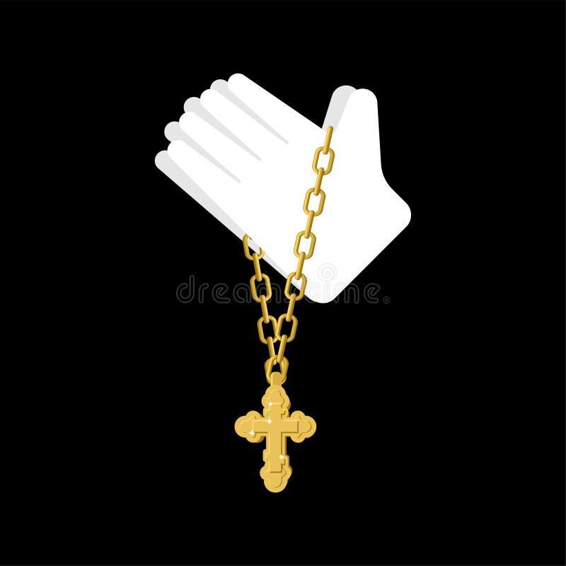 Ręki w modlitwie i krzyżu odizolowywających Modlitewna religia wektoru tekstura ilustracja wektor