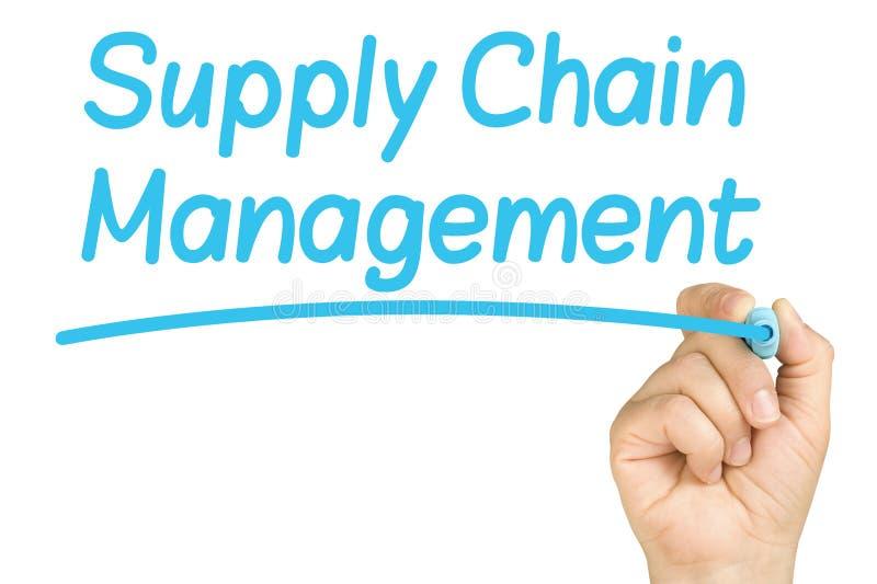 Ręki Writing łańcuchu dostaw zarządzania szkło Whitebo zdjęcie stock