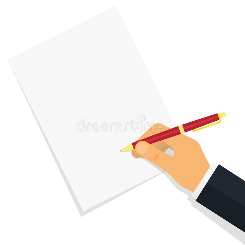 Ręki writing coś na papierowym prześcieradle ilustracji