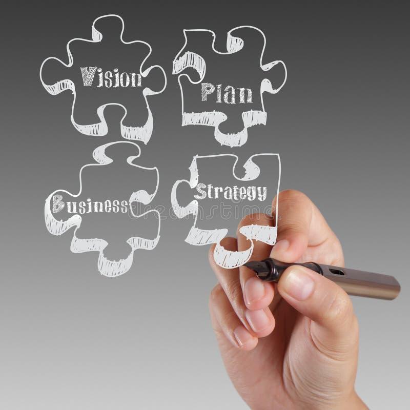 Ręki writing. Wzrok, Plan, Sukces, Strategia obraz stock