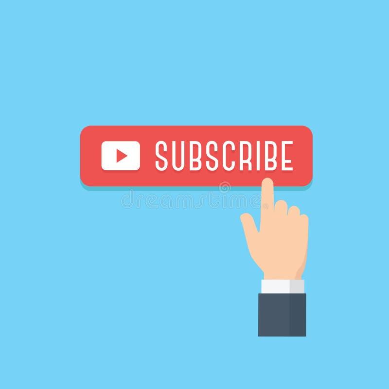 Ręki wskazywać prenumeruje guzik ilustrację Zawartość aktualizacje dla wideo leje się pojęcia ilustracji