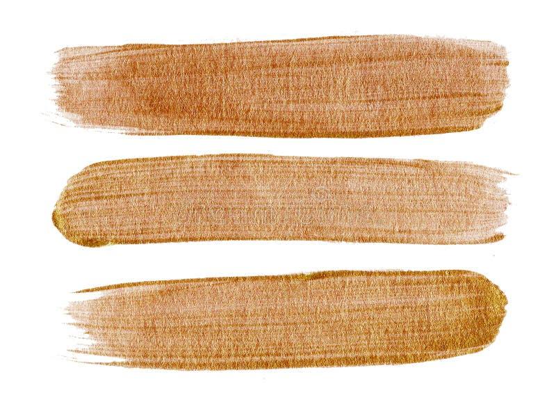 Ręki złota muśnięcia uderzenia farby rysunkowy punkt na białym tle ilustracja wektor