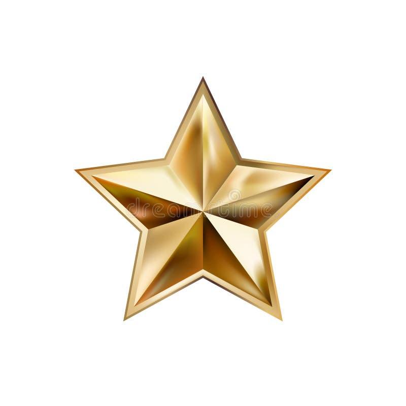 Ręki złota rysunkowa gwiazda z pięć promieni eleganckim elementem odizolowywającym ilustracja wektor