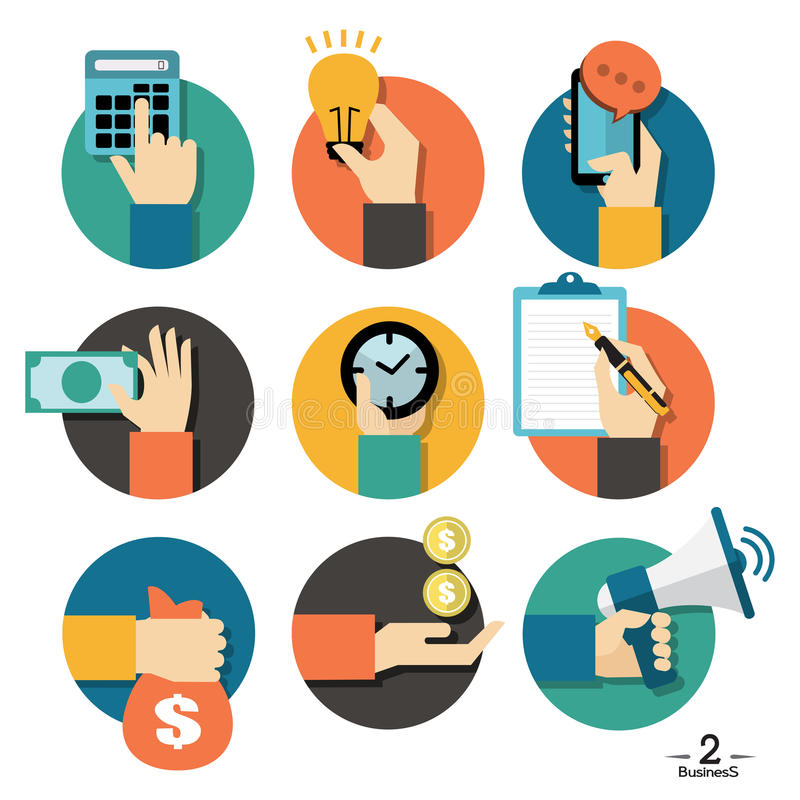 Ręki z biznesowymi przedmiot ikonami ustawiać royalty ilustracja