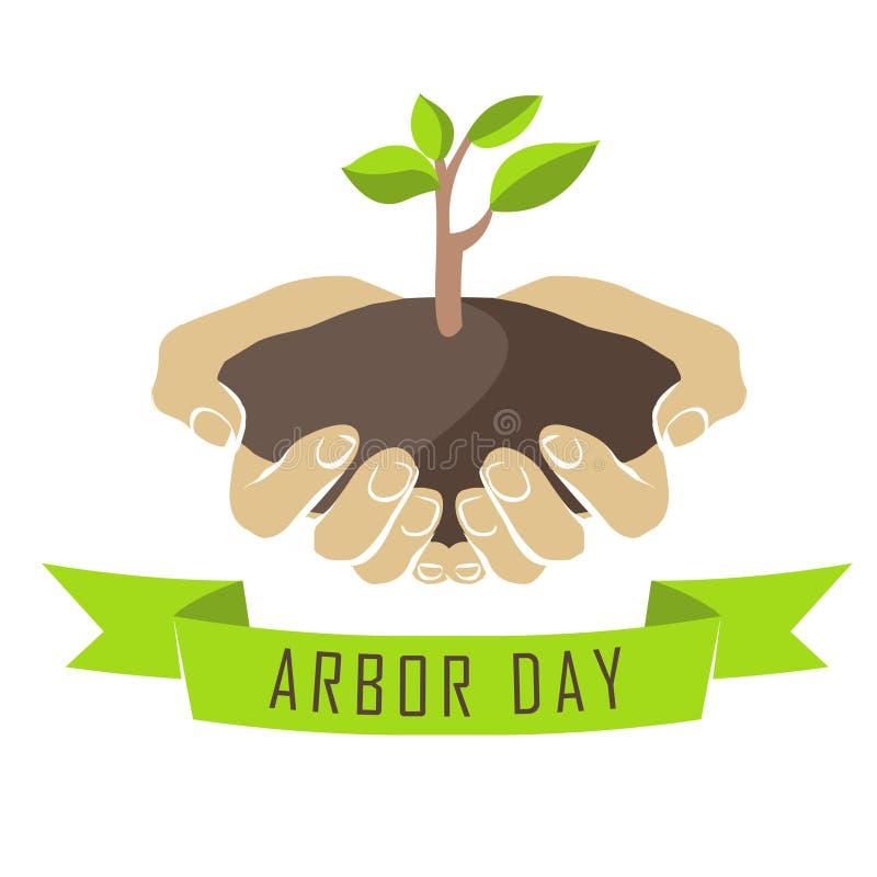 Ręki z drzewnymi rozsadami Altana dzień ilustracja wektor