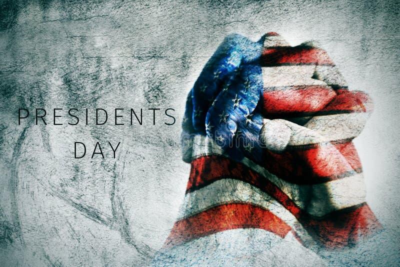 Ręki z flaga USA i teksta prezydentów dzień zdjęcie royalty free