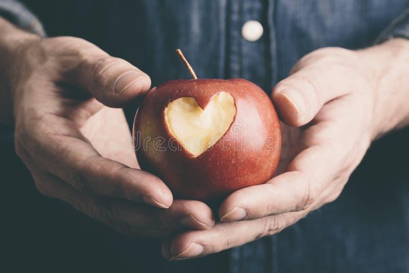 Ręki z jabłkiem zdjęcia royalty free
