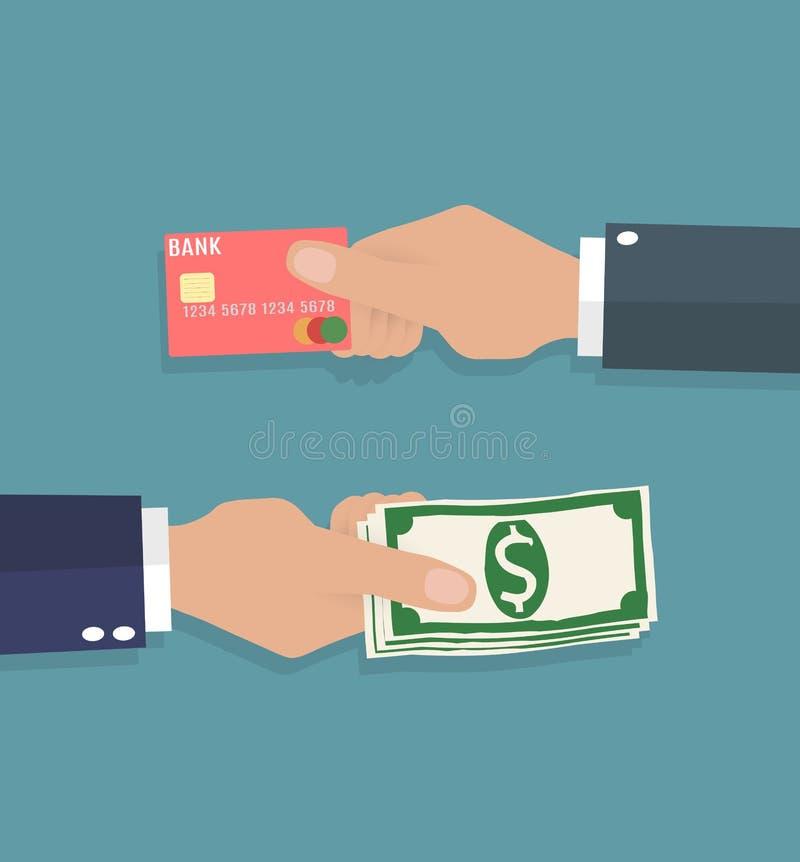 Ręki z kredytową kartą i gotówką royalty ilustracja