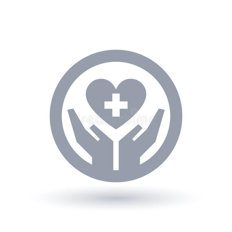 Ręki z medyczną przecinającą kierową ikoną Opieka zdrowotna symbol royalty ilustracja