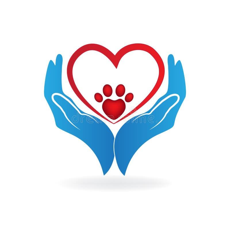 Ręki z miłości łapy kierowym drukiem kształtują ikona loga ilustracja wektor