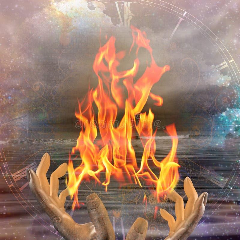 Ręki z ogieniem ilustracja wektor
