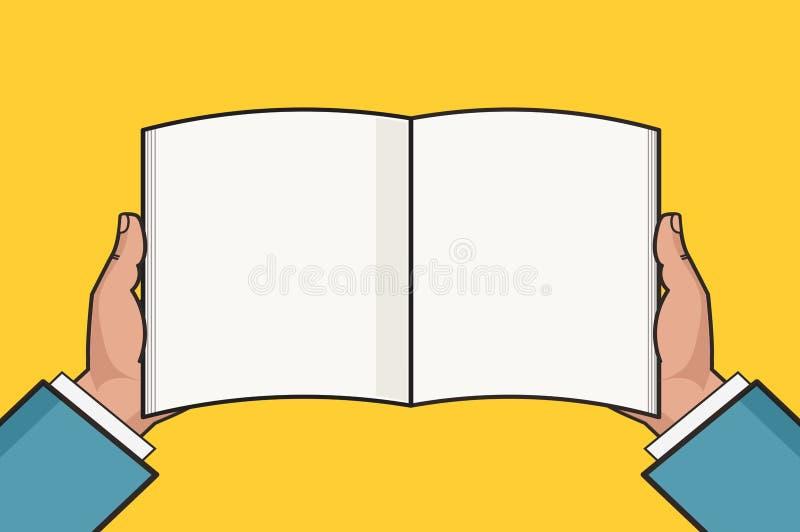 Ręki z otwartym puste miejsce książki szablonem również zwrócić corel ilustracji wektora ilustracja wektor