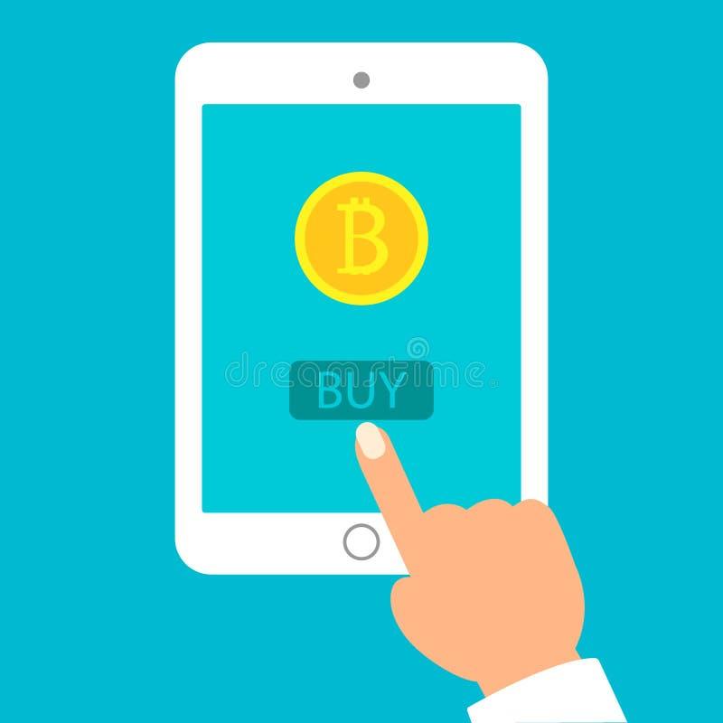 Ręki z pastylką z bitcoin symbolem na miastowym tle Pojęcie mobilny zastosowanie z portflem dla bitcoin i ilustracji