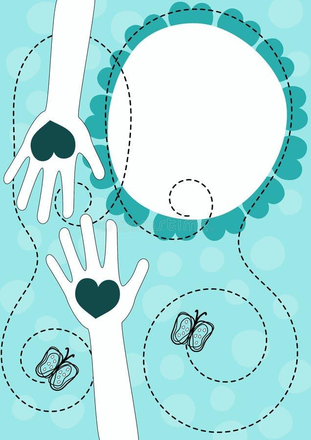 Ręki z serc valentines dnia kartka z pozdrowieniami royalty ilustracja